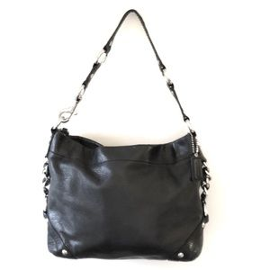 Coach Carly Black Leather Hobo Shoulder Bag
